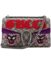 Gucci Dionysus GG Supreme Chain Strap Shoulder Bag - Red