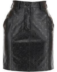 Marine Serre Moon Print Leather Mini Skirt S Leather - Black