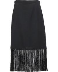 Burberry Fringed A-line Skirt - Black
