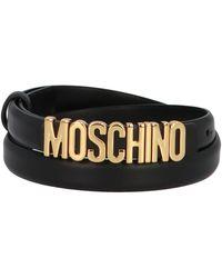 Moschino Mini Lettering Logo Belt - Black