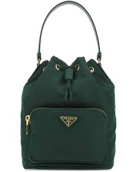 Prada Duet Drawstring Shoulder Bag - Green