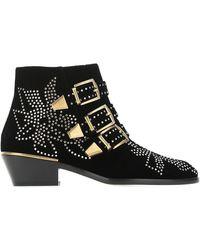 Chloé Susanna Leather Studded Boots/booties - Black