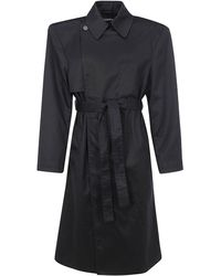 Balenciaga Belted Trench Coat - Black