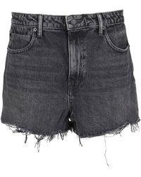 Alexander Wang Frayed Denim Shorts - Black