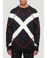 Alexander McQueen Oversized Argyle Intarsia Sweater - Black