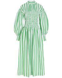 Ganni Shirred Bodice Striped Midi Dress - Green