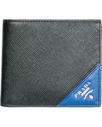 cc12900a23 Lyst - Prada - Logo Plaque Bi-fold Wallet - Men - Calf Leather - One ...