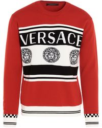 Versace Logo Intarsia Knitted Jumper - Red