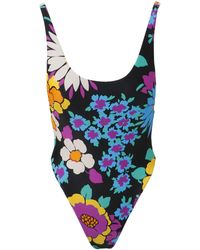 Saint Laurent Floral Printed One-piece Swimsuit - Multicolor
