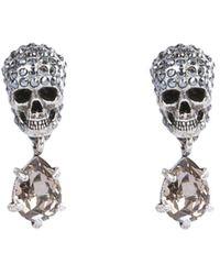 Alexander McQueen Skull Crystal Embellished Earrings - Metallic