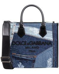Dolce & Gabbana Denim Patch Tote Bag - Blue