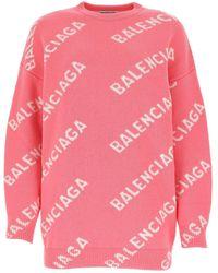 Balenciaga Logo Intarsia Knitted Jumper - Pink