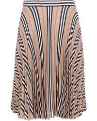 Burberry Icon Stripe Pleated Midi Skirt - Natural