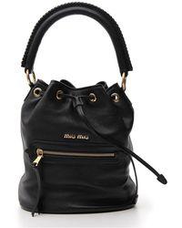 Miu Miu Logo Bucket Bag - Black