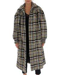 Miu Miu Oversize Belted Tweed Coat - Gray