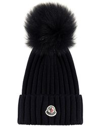 Moncler Logo-patch And Pompon Virgin Wool Beanie - Black