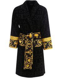 Versace Barocco Detail Bathrobe - Black