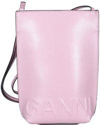 Ganni Logo Embossed Mini Crossbody Bag - Pink