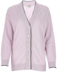 Fendi Ff Motif Knitted Cardigan - Purple