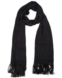 Fendi Logo Monogram Fringed Shawl - Black