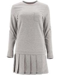 Thom Browne Pleated Long-sleeve T-shirt Dress - Grey