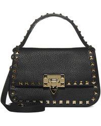 Valentino Small Rockstud Strapped Handbag - Black