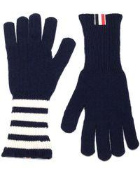 Thom Browne 4-bar Striped Gloves - Blue