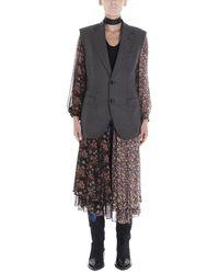 Junya Watanabe Reversible Layered Patchwork Vest - Grey