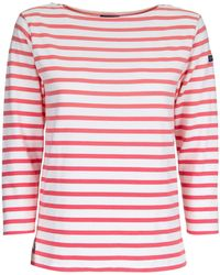 Polo Ralph Lauren Striped Cropped Sleeve Top - Pink