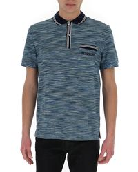 Missoni Logo Embroidered Polo Shirt - Blue