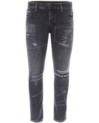 Marcelo Burlon Distressed Slim Fit Jeans - Black