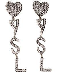 Saint Laurent Silver Crystal Heart Earrings - Metallic