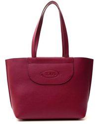 Tod's Medium Debossed-logo Shopping Bag - Red