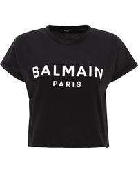 "Balmain """" Crop T-shirt - Black"