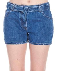 Prada Belted Denim Shorts - Blue