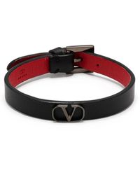 Valentino Garavani Vlogo Plaque Bracelet - Black