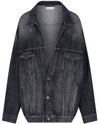 Balenciaga Faded-effect Denim Jacket - Black