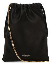 Saint Laurent Paris Drawstring Pouch Crossbody Bag - Black
