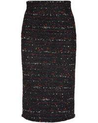 Alexander McQueen Tweed Frayed Hem Pencil Skirt - Black