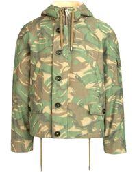 Saint Laurent Camouflage Printed Shearling Jacket - Green