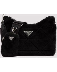 Prada Logo Plaque Shearling Shoulder Bag - Black