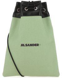 Jil Sander Logo Print Drawstring Pouch - Green