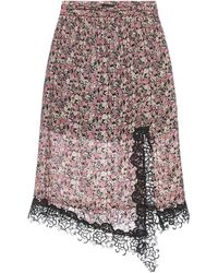 Pinko Damsquare Floral Print And Lace Skirt - Multicolour
