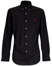 Polo Ralph Lauren Logo Embroidered Shirt - Black