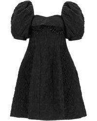 Simone Rocha Jacquard Cloque' Mini Dress - Black