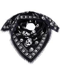 Alexander McQueen All-over Skull Logo Scarf - Black