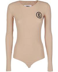 MM6 by Maison Martin Margiela Logo Print Bodysuit - Natural