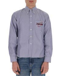 Prada Striped Logo Embroidered Oxford Shirt - Blue