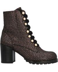 Stuart Weitzman Ivey Metallic Tweed Combat Boots - Brown