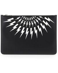 Neil Barrett Fair-isle Thunderbolt Print Clutch Bag - Black